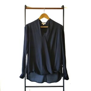 Pleione Black Tab Sleeve Bubble Hem Blouse M